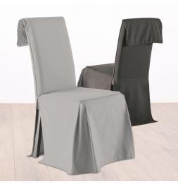 Housse de chaise ajustable - Gris - 100% coton