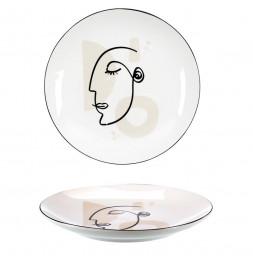 Lot de 4 assiettes - D 20 cm - Arty - Blanc
