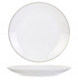 lot de 4 assiettes liséré Doré - D 26 cm - Blanc