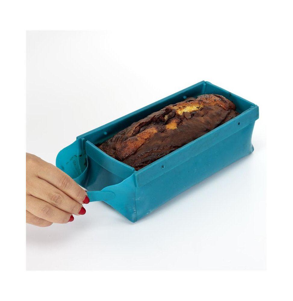 Moule à gâteaux en silicone - Pliable - L 21 cm x l9 cm x H 8 cm - Bleu