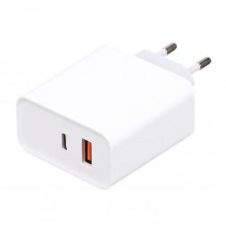 Adaptateur secteur - USB + TYPE C - L 4,5 cm x l 2,7 cm x H 9,7 cm