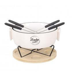 Appareil à fondue - 4 piques - L 23 cm x l 20 cm x H 14,5 cm - Blanc