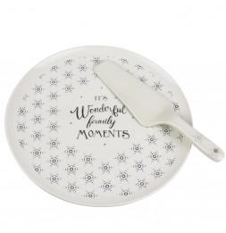 Coffret plat à tartre avec pelle - 30 x 30 cm - Blanc