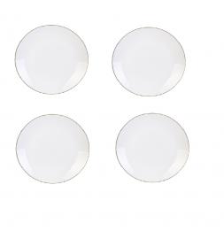Lot de 4 assiettes liséré Doré - D 21 cm - Blanc