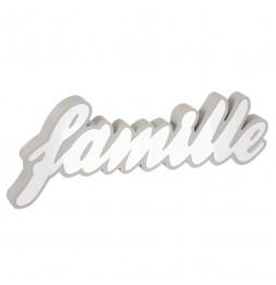 Mot décoratif Famille - L 38,85 cm x l 2,5 cm x H 15,2 cm - Blanc et Gris