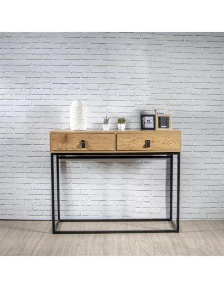 Console en bois - L 100 x l 35 cm - Noir