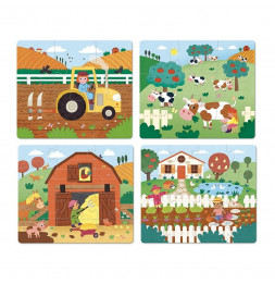 4 puzzles évolutifs la ferme - Vilac - Jeux et jouets