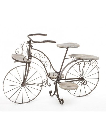 Vélo porte plantes - Fer forgé - 5 plateaux en bois - Meuble décoratif