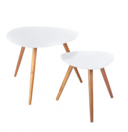 Tables basses Miléo - Blanc - Lot de 2 tables café