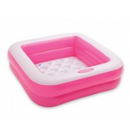 Pataugeoire carrée rembourée - Rose et blanc - Petite piscine gonflable
