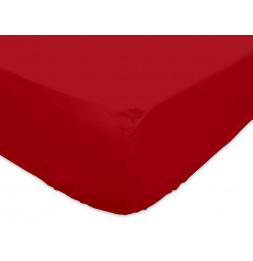 Drap housse 140 x 200 cm 100% coton - Rouge - Linge de lit
