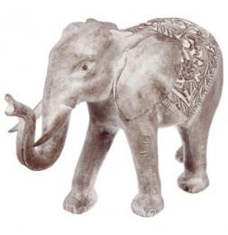 Eléphant blanchi en résine - L 74 cm x l46 cm x H 22,5 cm - Gris