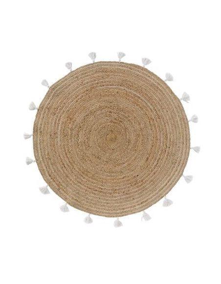 Tapis rond à pompons - D 120 cm - Shira Blanc