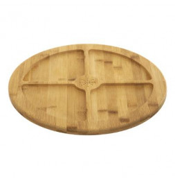 Planche pour apéritifs en bambou - 4 compartiments - D 35,5 cm x H 2,5 cm