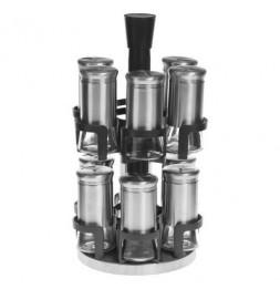 12 pots à épices avec présentoir rotatif - 19,5 x 19,5 cm x H 33,8 cm