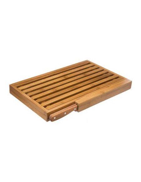 Planche à pain en bambou avec son couteau - L 44 x l 27 cm