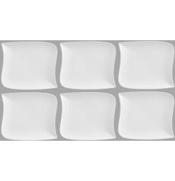 Lot de 6 assiettes à dessert carrées design vague - 21 cm x 21 cm - Porcelaine