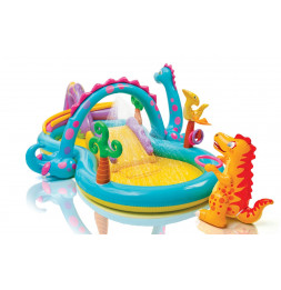Piscine aire de jeu gonflable - Dinoland - Avec toboggan