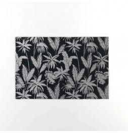 Lot de 4 sets de table imprimés - L 43,5 cm x l 28,5 cm - Feuillor - Noir et Argenté