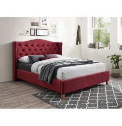 Lit en velours - L 216 x l 178 cm - Rouge