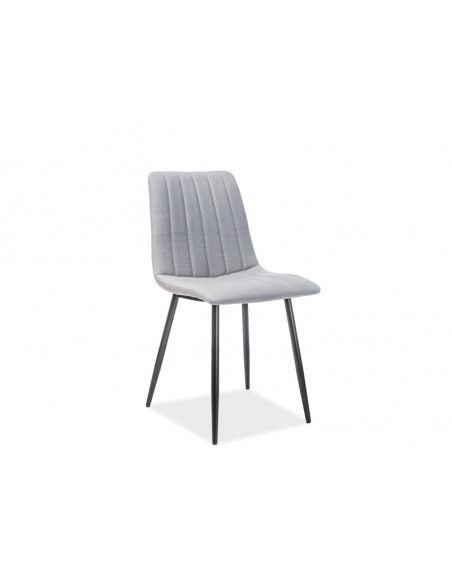 Chaise en velours - Alan I - L 45 cm x l 40 cm x H 88 cm - Gris