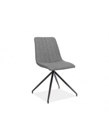 Chaise en velours - Alan II - L 44 cm x l 39 cm x H 86 cm - Gris