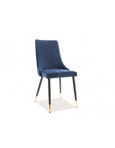 Chaise en velours - Piano - L 45 cm x l 44 cm x H 92 cm - Bleu