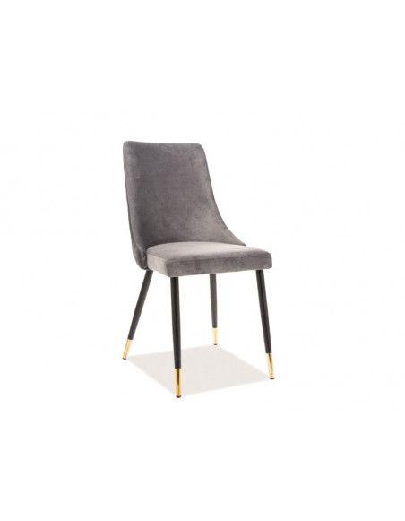 Chaise en velours - Piano - L 45 cm x l 44 cm x H 92 cm - Gris