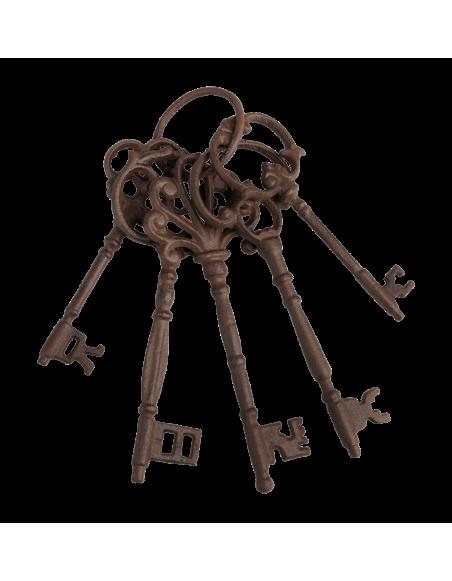 Trousseau de clés avec anneau - L 8,2 x l 6,5 x H 24,5 cm - Marron