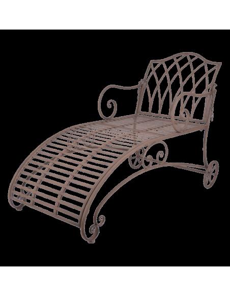 Chaise longue de jardin - L 144,5 x l 70 x H 90,3 cm - Marron
