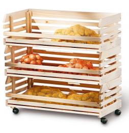Caisses à fruits sur roulettes - Rangement en bois massif empilable
