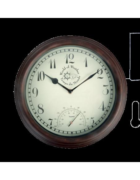 Horloge murale avec thermomètre - D 30,5 cm