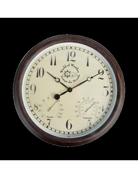 Horloge murale avec thermo-hygromètre - L 6,1 cm x l 38,3 cm x H 38,5 cm