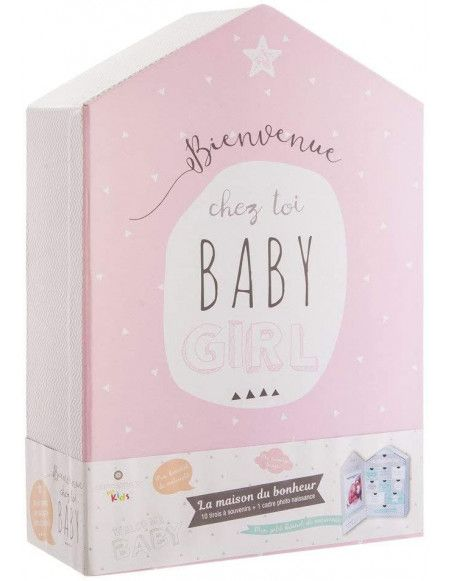 Coffret naissance forme maison 10 tiroirs - Boîte à souvenirs de bébé - Rose