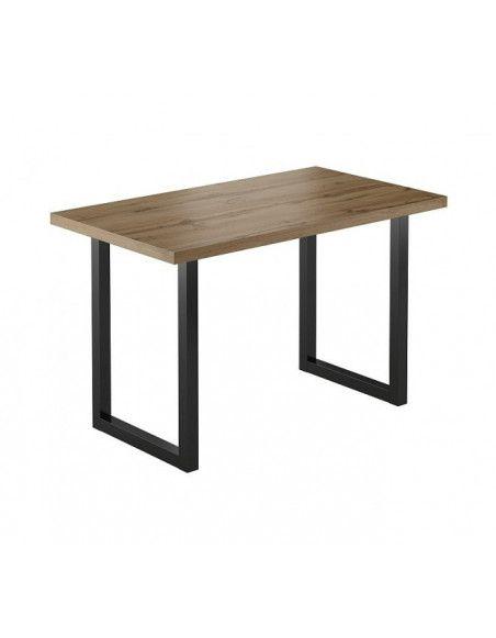Table - Univers - L 68 x l 120 x H 77 cm - Noir et chêne wotan