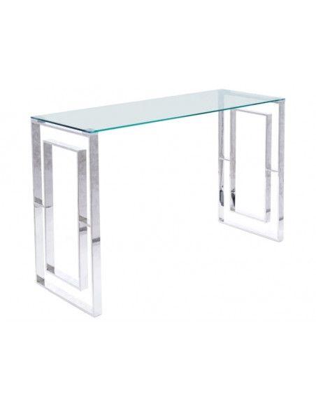 Console en verre trempé - Allure C - L 40 x l 120 x H 88 cm