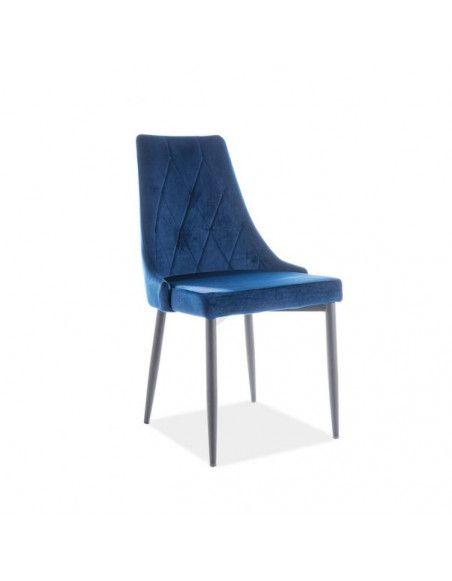 Chaise en velours - Trix - L 46 x P 46 x H 88 cm - Bleu