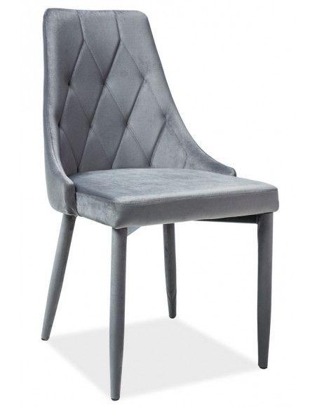 Chaise en velours - Trix - L 46 x P 46 x H 88 cm - Gris
